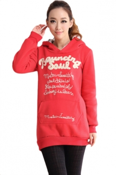 Red Cool Womens Cotton Pullover Thick Letter Printed Hoodie