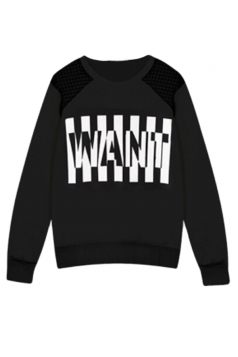 White Ladies Pullover Crew Neck Letter Thick Printed Sweatshirt