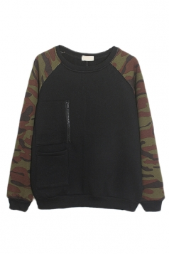 Black Womens Camouflage Crew Neck Pullover Printed Sweatshirt