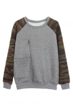 Gray Womens Camouflage Crew Neck Pullover Printed Sweatshirt