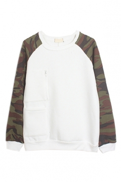 White Womens Camouflage Crew Neck Pullover Printed Sweatshirt