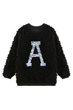 Black Fashion Womens A Printed Pullover Crew Neck Fur Sweatshirt
