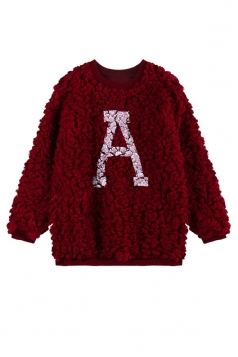 Ruby Fashion Womens A Printed Pullover Crew Neck Fur Sweatshirt