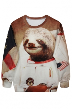 Khaki Ladies Sloth Printed 3D Jumper Pullover Sweatshirt