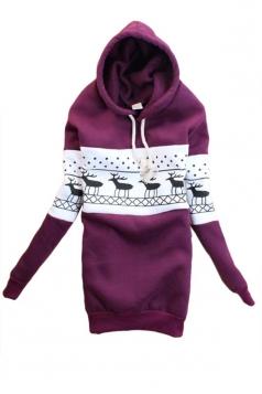 Purple Cute Ladies Ugly Christmas Reindeer Pullover Printed Hoody