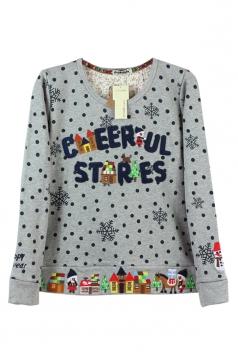 Gray Chic Crew Neck Snowflake Ugly Christmas Printed Sweatshirt