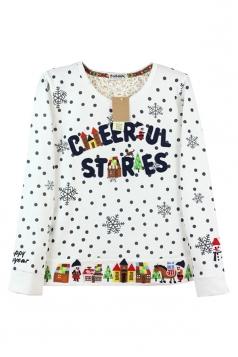 White Chic Crew Neck Snowflake Ugly Christmas Printed Sweatshirt