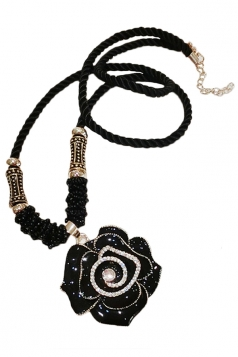 Black Elegant Womens Jewel Flower Sweater Chain