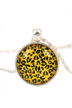Yellow Pretty Womens Leopard Printed Long Sweater Chain