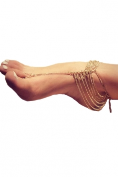Gold Trendy Womens Beautiful Tiered Anklet