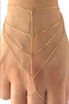 Gold Trendy Womens Tiered Fringe Bracelet