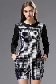 Navy Blue Fashion Long Sleeves Lapel Plaid Romper Jumpsuit
