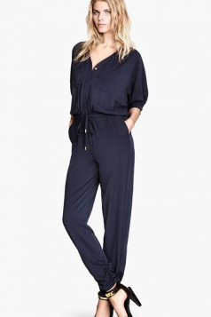 Navy Blue V Neck Casual Tunic Fashion Jumpsuit