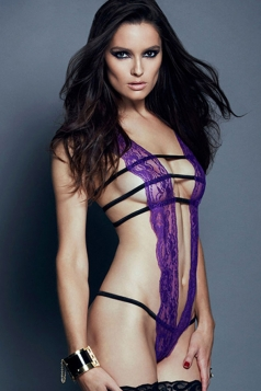 Purple Lace Sexy Ladies Straps Slutty Lingerie Teddy