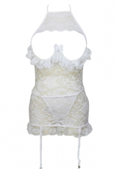 White Sexy Ladies Lingerie Backless Lace Bustier and Garter