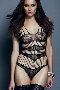 Black Hollow Out Sexy Womens Erotic Lingerie Teddy