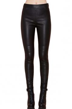 Black Punk Womens Plain Patchwork Skinny Leather Leggings