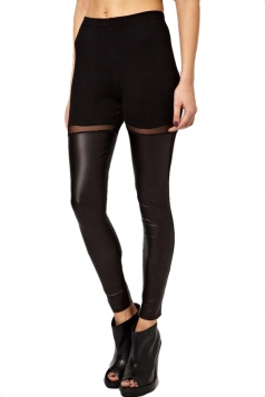 Black Trendy Womens Patchwork Mesh See Through Leather Leggings