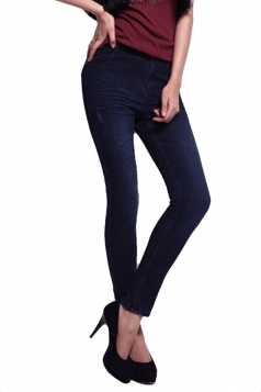 Blue Pretty Ladies Lined Warm Winter Denim Print Leggings