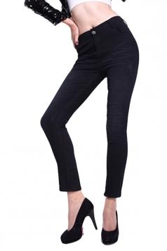 Black Pretty Ladies Lined Warm Winter Denim Print Leggings
