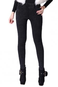 Black Fashion Womens Warm Winter Thick Lined Denim Leggings