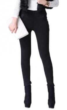 Black Trendy Ladies Thick Lined Snowflake Denim Leggings