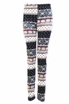 Black Womens Snowflake Plaid Christmas Lined Sweater Leggings