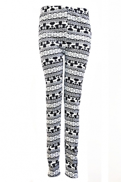 Black Sexy Ladies Reindeer Christmas Lined Thick Sweater Leggings