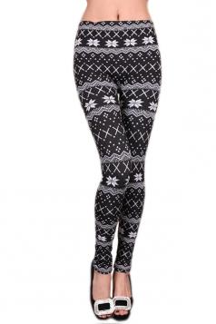 Black Ladies Snowflake Christmas Lined Warm Sweater Leggings