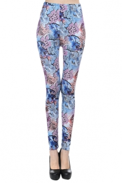 Blue Fancy Womens Sexy Floral Printed Chic Leggings