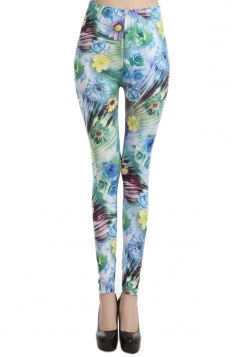 Green Vintage Womens Sexy Roses Floral Leggings