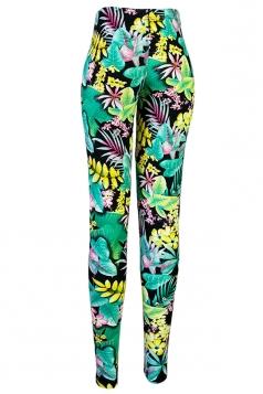 Green Slimming Womens Nine Minutes Floral Printed Leggings