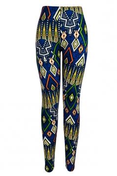 Blue Charming Womens Rhombus Printed Geometric Leggings