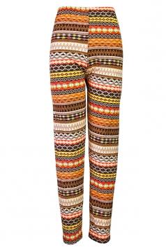 Orange Tight Womens Rhombus Printed Geometric Leggings