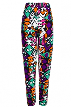 Purple Slimming Ladies Rhombus Geometric Printed Leggings