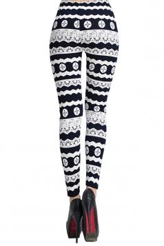 White Slimming Ladies Black and White Printed Designer Leggings