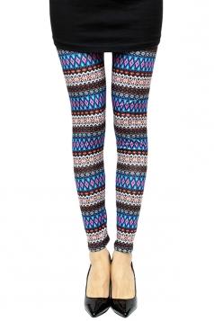 Blue Sexy Ladies Color Block Rhombus Printed Leggings