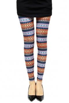 Orange Sexy Ladies Color Block Rhombus Printed Leggings