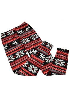 Red Womens Christmas Snowflake Pattern Warm Sweater Leggings