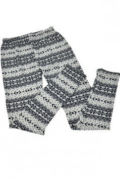 Black Color Block Christmas Snowflake Pattern Sweater Leggings
