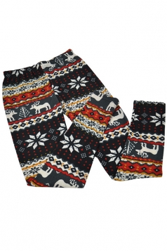 Red Womens Christmas Reindeer Snowflake Pattern Sweater Leggings
