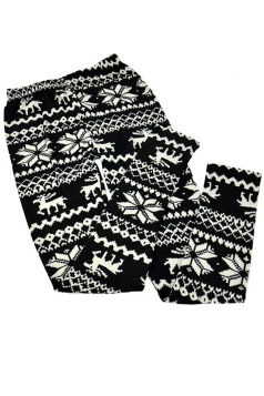 Black Womens Christmas Reindeer Snowflake Warm Sweater Leggings