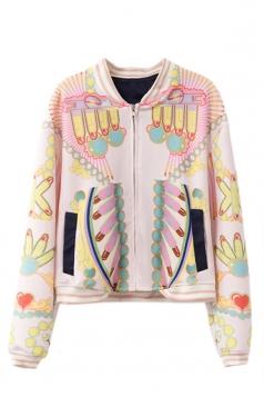 Pink Sexy Ladies Printed Batwing Sleeve Baseball Jacket