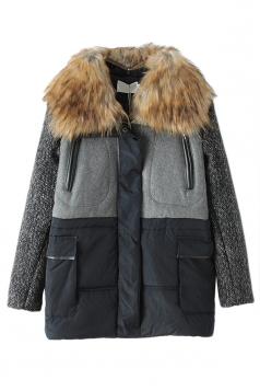 Gray Ladies Fashion Patchwork Fur Quilted Over Coat