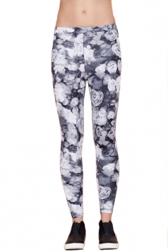 Gray Vintage Womens Rose Printed Stretch Floral Leggings