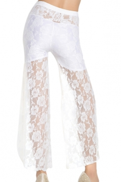 White Charming Ladies Lace Jacquard Ripped Lace Leggings