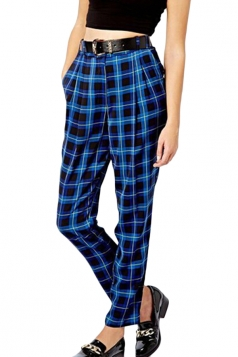 Blue Fashion High Waisted Plaid Loose Retro Leggings
