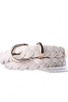 White Charming Womens Casual PU Knit Belt