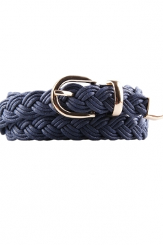 Navy Blue Charming Womens Casual PU Knit Belt