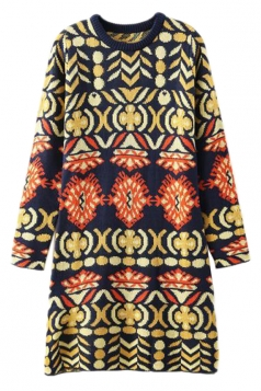 Yellow Trendy Womens Slimming Pope Printed Sweater Dress